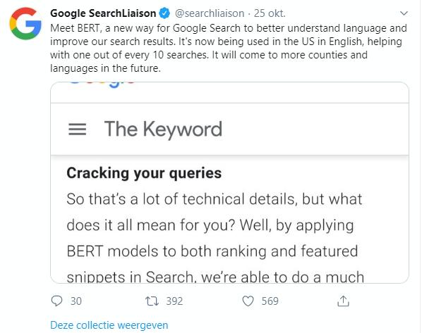 Tweet van Google over BERT
