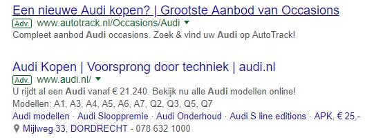 Google AdWords tekstadvertentie resultaat