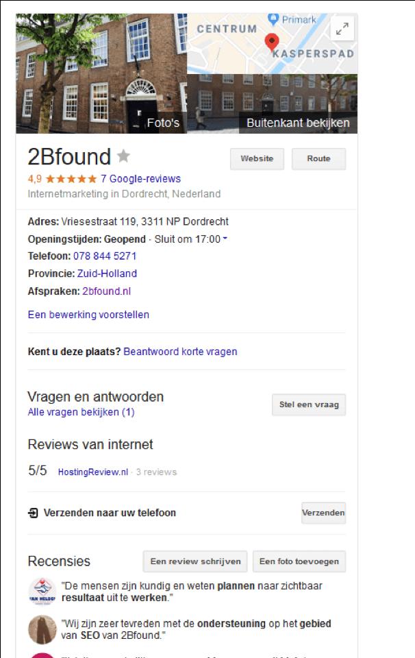 2Bfound in de zoekresultaten aan de rechterkant