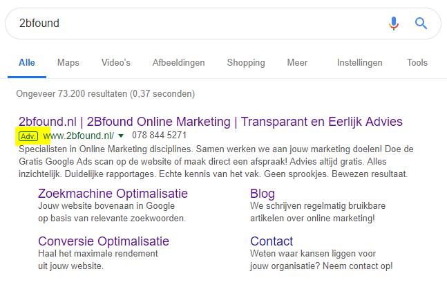 2bfound zoekmachine adverteren resultaten