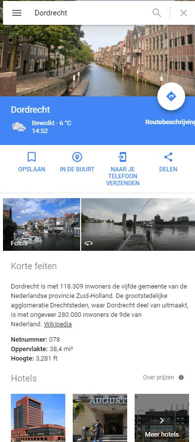 Resultaat Maps Google