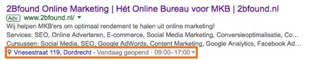 Locatie extensies in Google advertentie