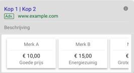Prijs extensies in Google advertentie