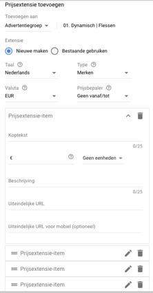 Prijs extensies maken in Google AdWords
