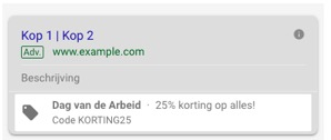 Promotie extensies in Google advertentie