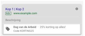 Promotie extensies in Google advertentie