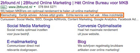 Highlight extensies in Google AdWords