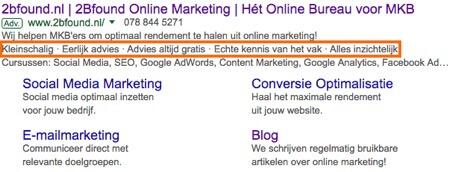 Highlight extensies in Google AdWords