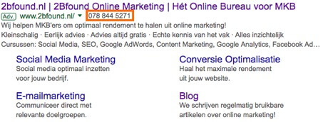 Oproep extensies in Google advertentie