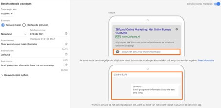 Bericht extensies in Google advertentie