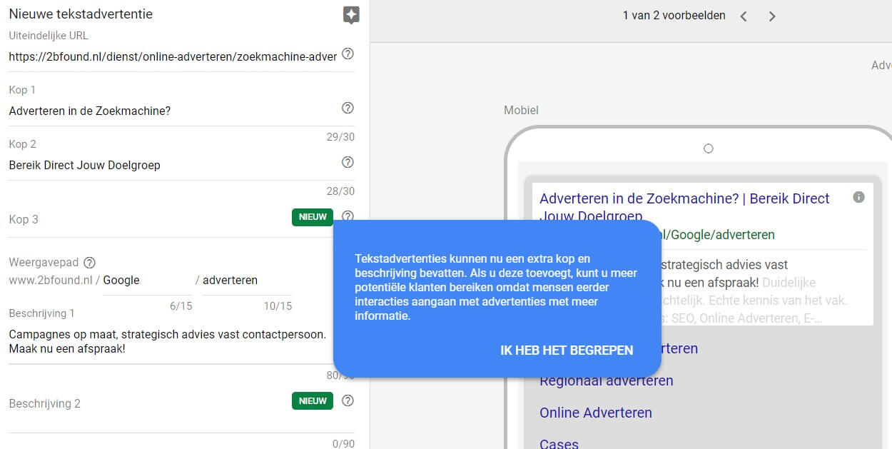 Adverteren Google AdWords - 2Bfound