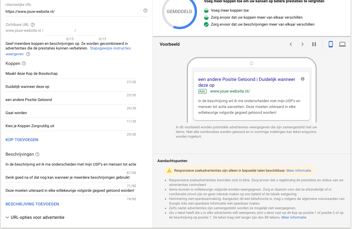 Het inzetten van Responsive Search Ads in Google Ads