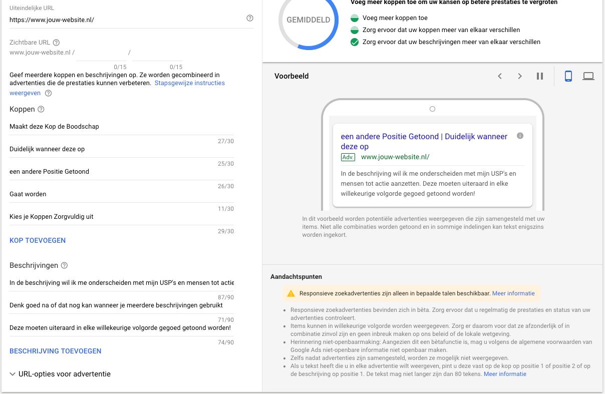 Het inzetten van Responsive Search Ads in Google Ads