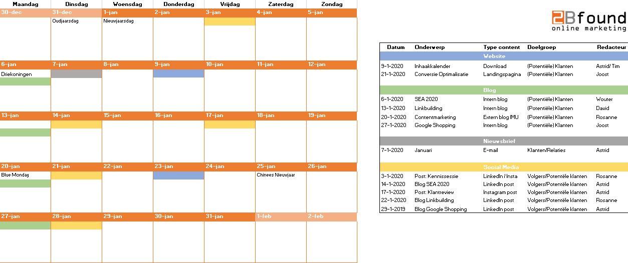 contentkalender 2020 voorbeeld