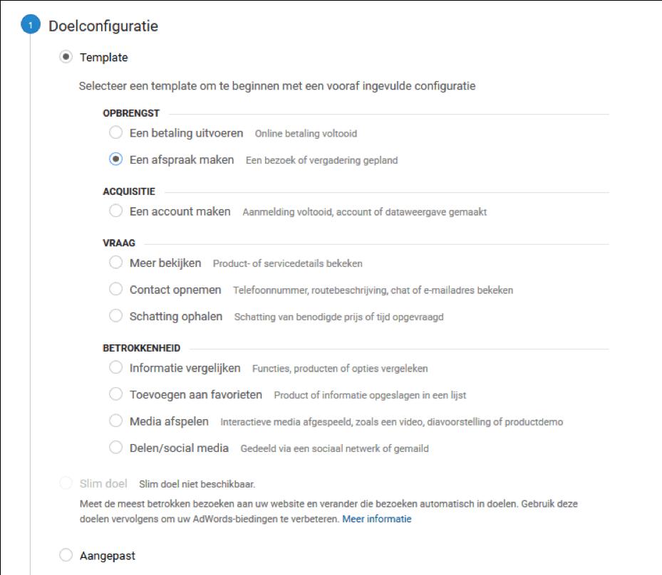 Stel doelen met Google Analytics