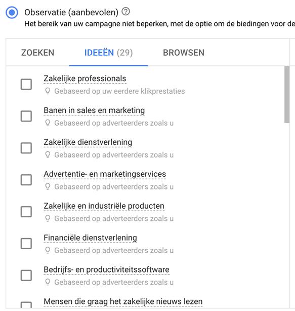 Google Ads tool: Doelgroep observatie