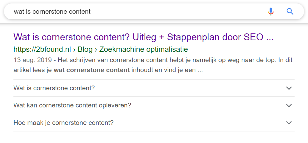 Voorbeeld structured data FAQ