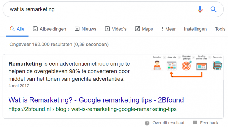 Voorbeeld featured snippet