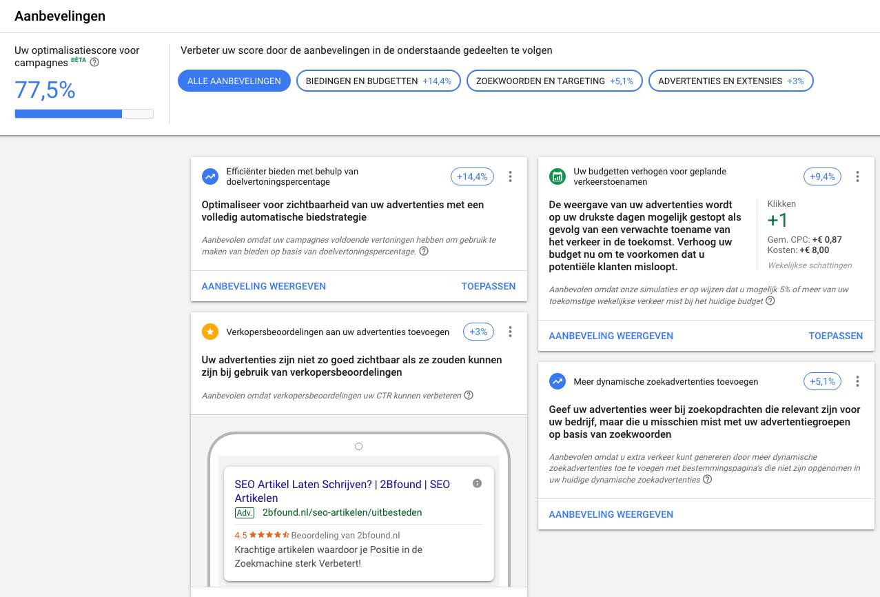 Aanbevelingen van Googlei n Google Ads