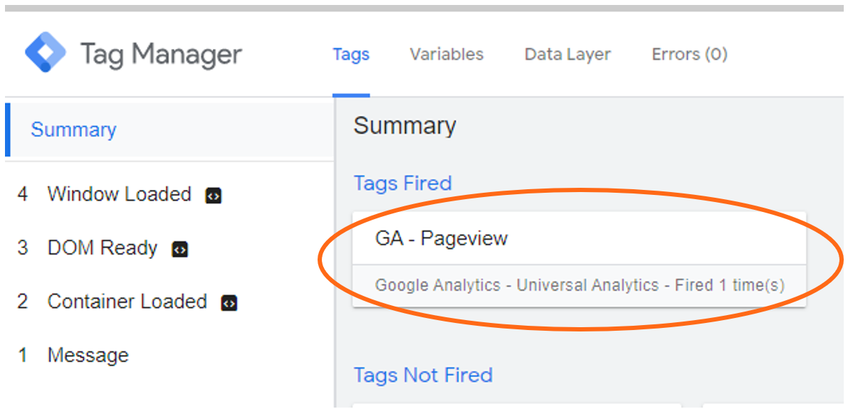 Google Tag Manager Debugmode