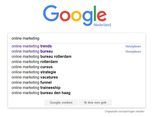 Suggesties die in Google tevoorschijn komen als je iets intypt
