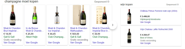 Resultaat Google Shopping