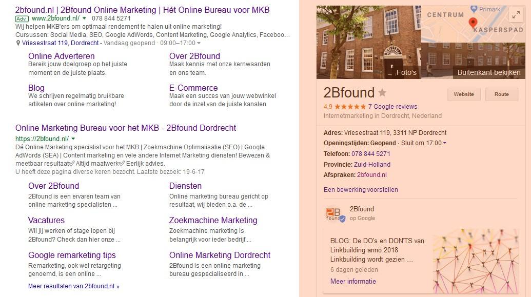 Google bedrijfsvermelding van 2Bfound