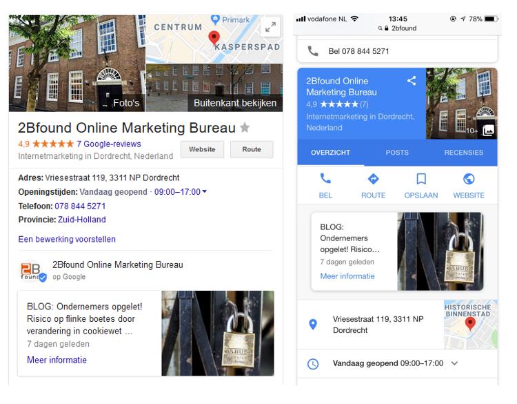 Google Mijn Bedrijf in Google