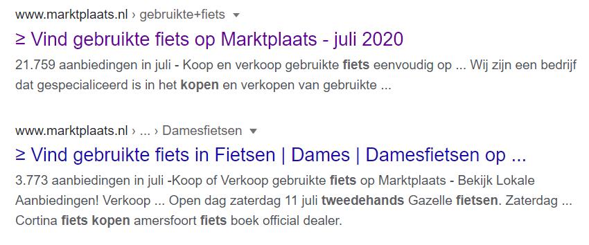 Meta tags Marktplaats in Google