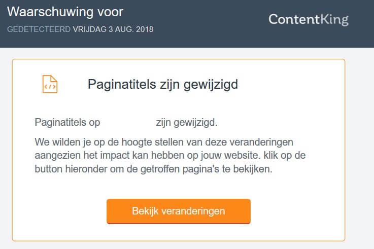 Paginatitels aangepast alert ContentKing