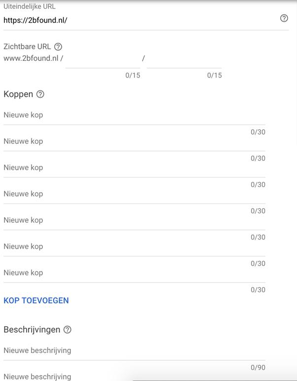 Google Ads tool: responsieve zoekadvertenties