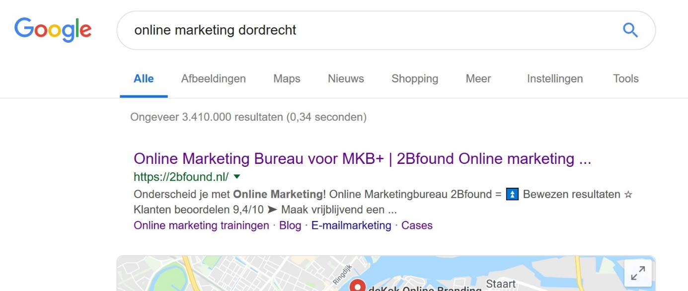 de SEO resultaten van 2Bfound door linkbuilding
