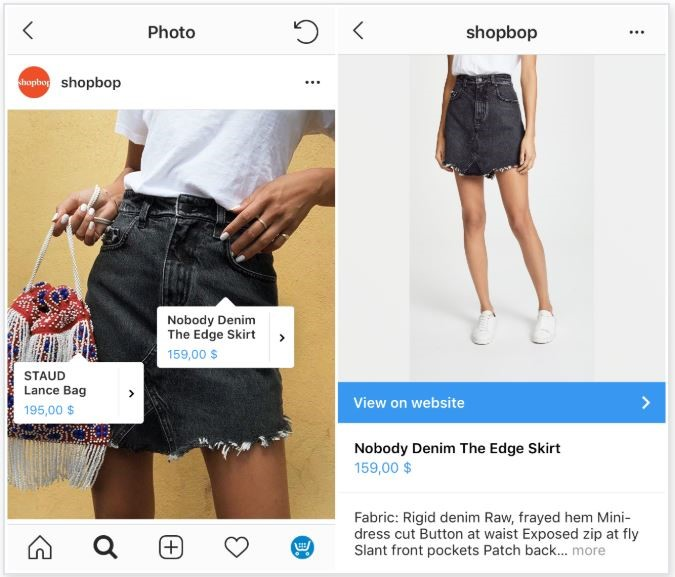 product tagging in shoppable posts