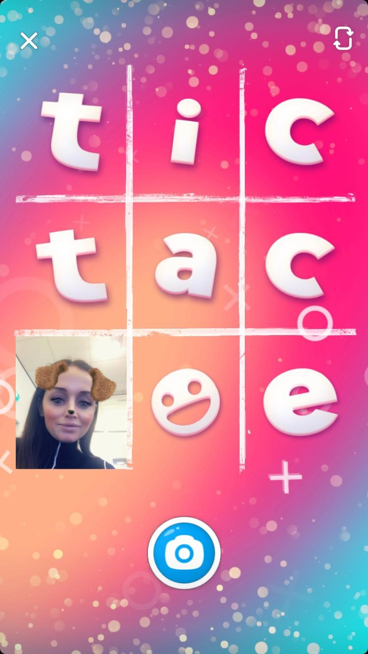 Boter-kaas-en-eieren spel in Snappables Snapchat