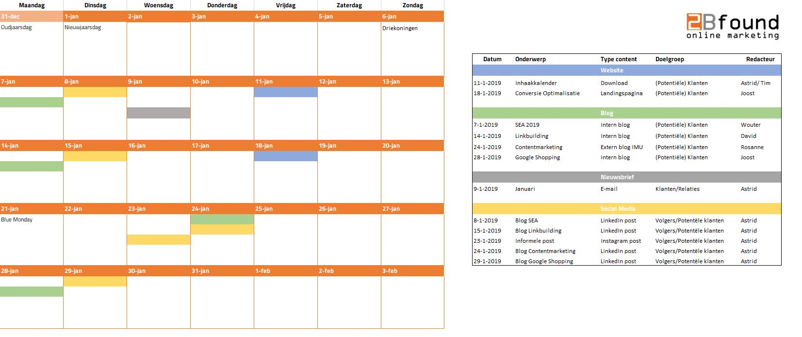 Contentkalender 2Bfound voorbeeld