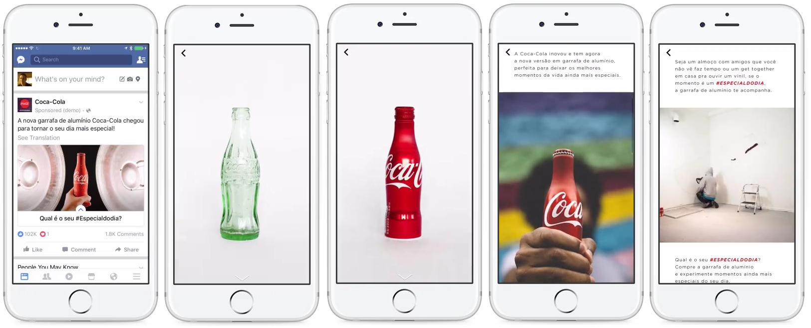 Canvas advertentie van CocaCola op Facebook