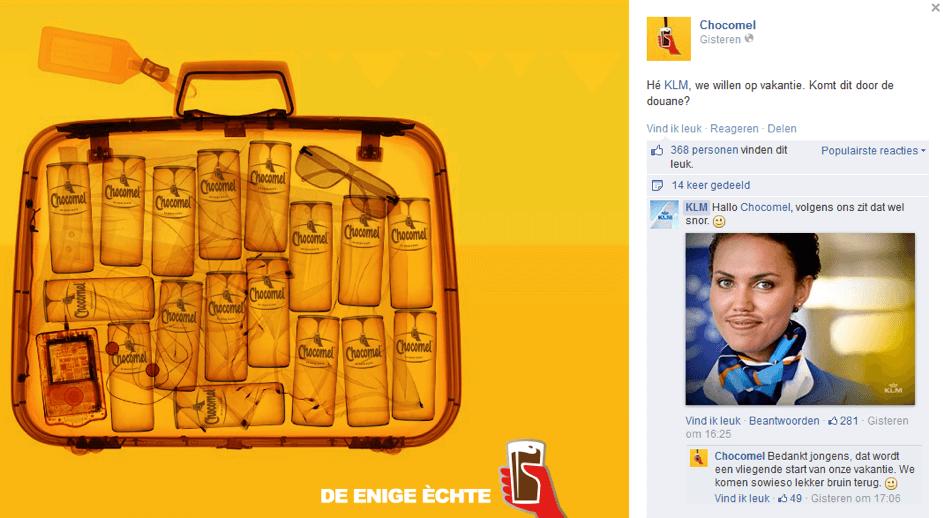 Chocomel betrekt KLM bij een inhaker