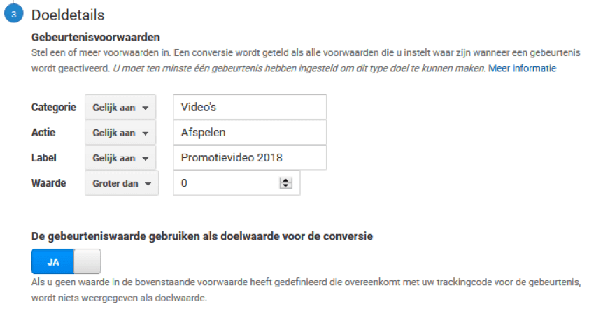 Doel details bepalen in Google Analytics