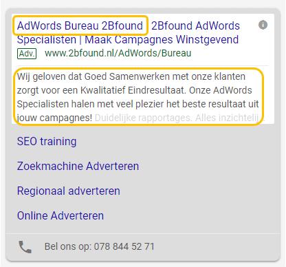 eerste kop een tweede omschrijving google ads