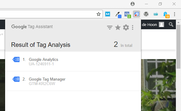 google extension tag assistent