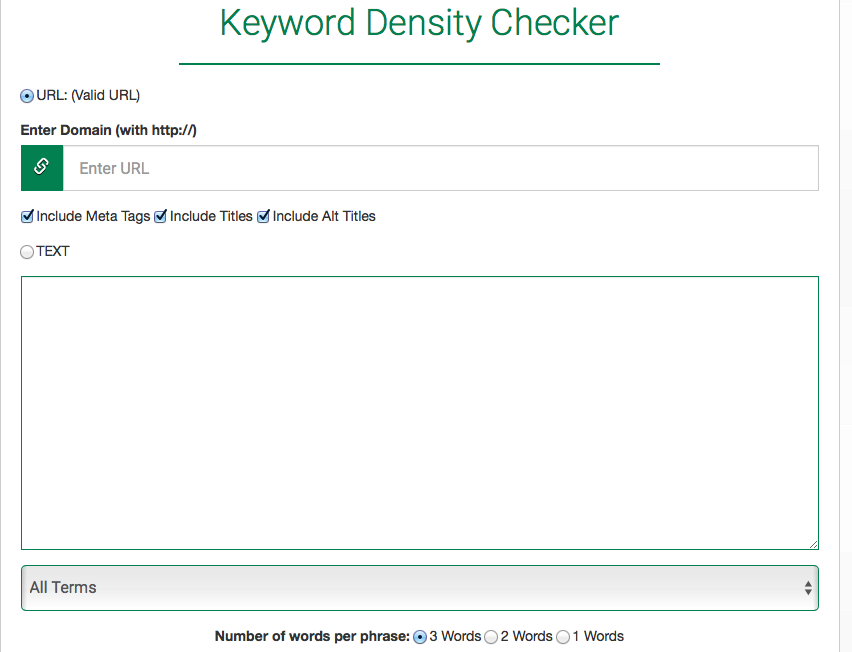 Keyword density checker - 2bfound