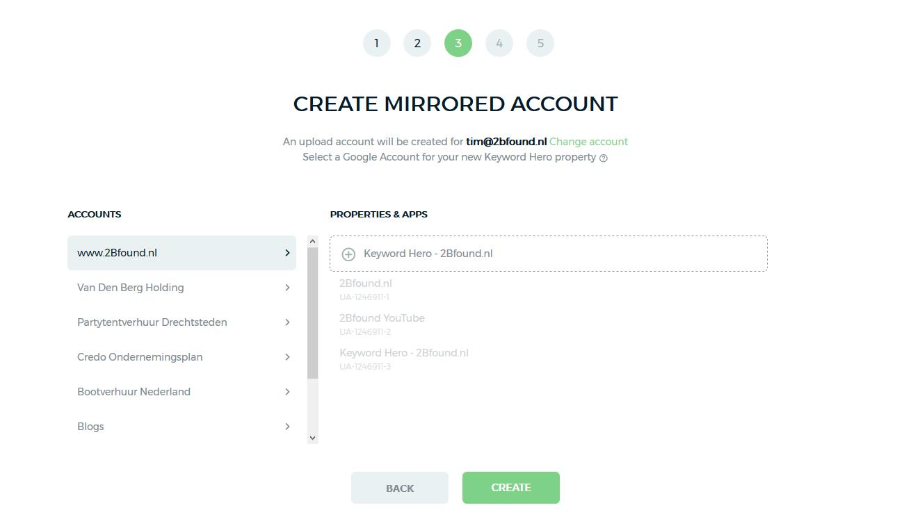 in Keyword Hero een Mirrored Account aanmaken