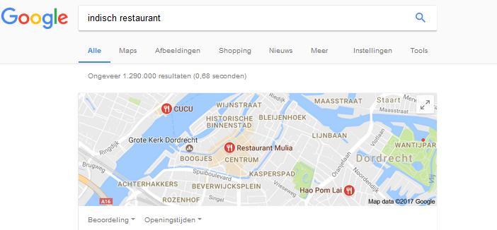 lokale zoekresultaten in Google