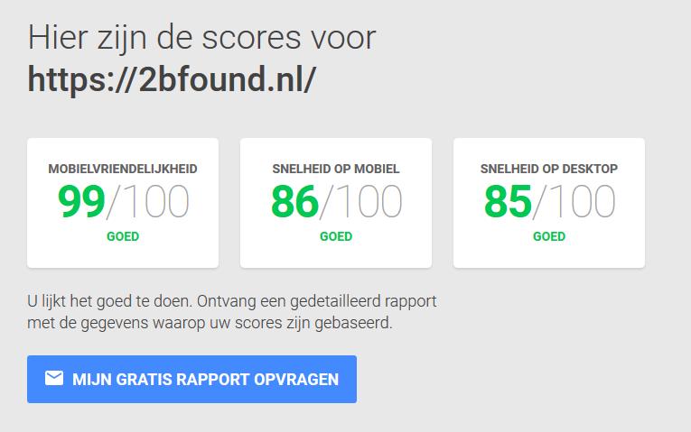 score van je website op de mobiele telefoon