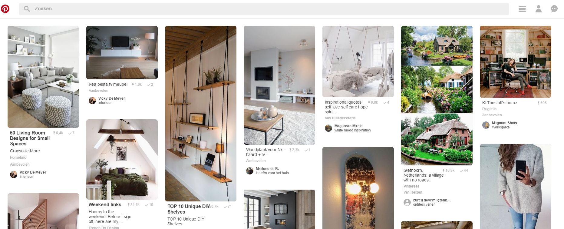 Interface Pinterest
