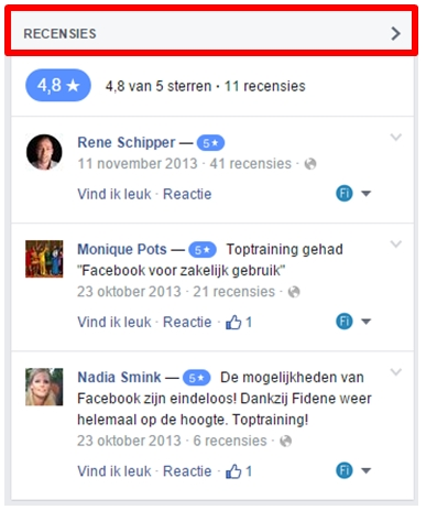 Reviews op Facebook