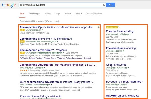 sea advertenties in de zoekmachine
