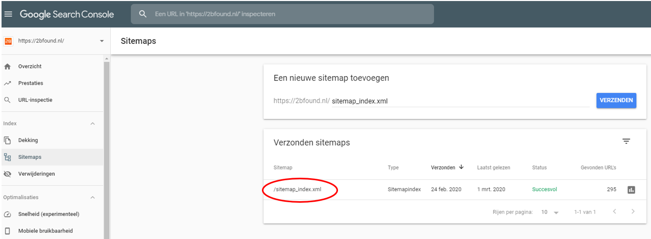 Sitemap in Google Search Console