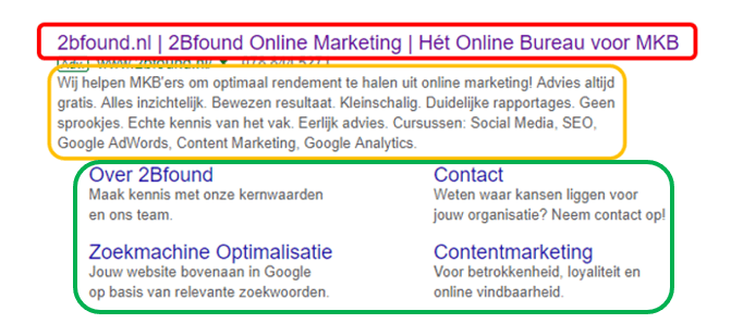 google zoekresultaat met SEO titel, meta description en advertentie extensie