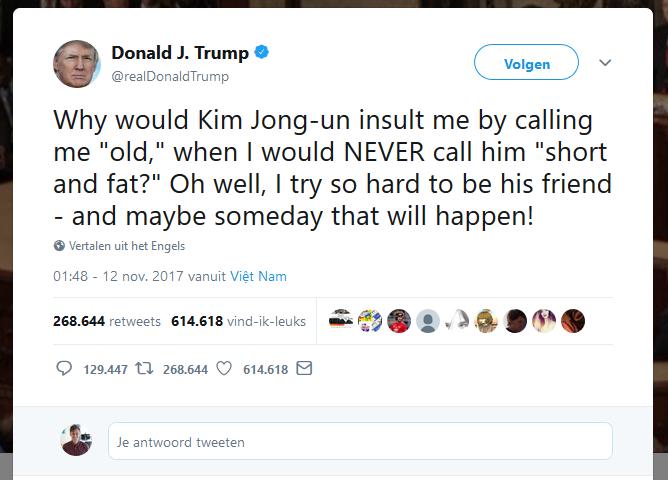 Een Tweet van Donald Trump